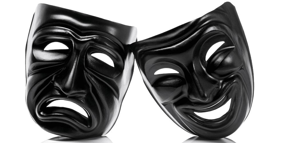 Máscaras de rostro triste y feliz. Fuente: primastock/ Envato Elements.