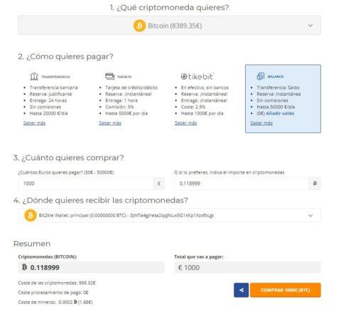 Formulario Compra Bitcoin Bit2me España