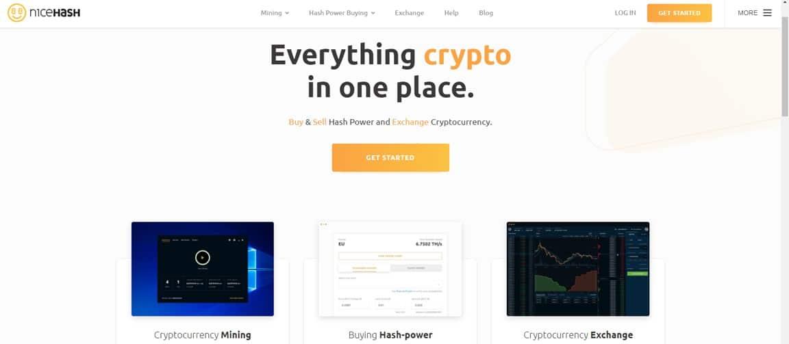 Página principal de NiceHash - guía CriptoNoticias