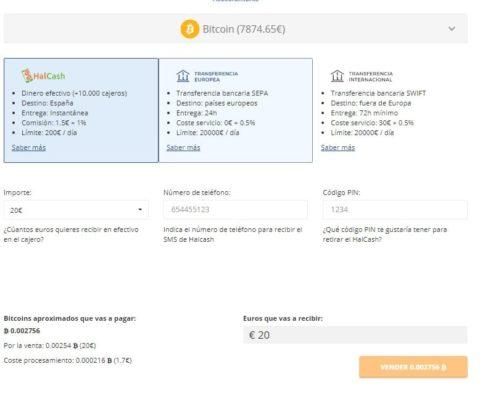 Formulario Venta Bitcoin Bit2Me España