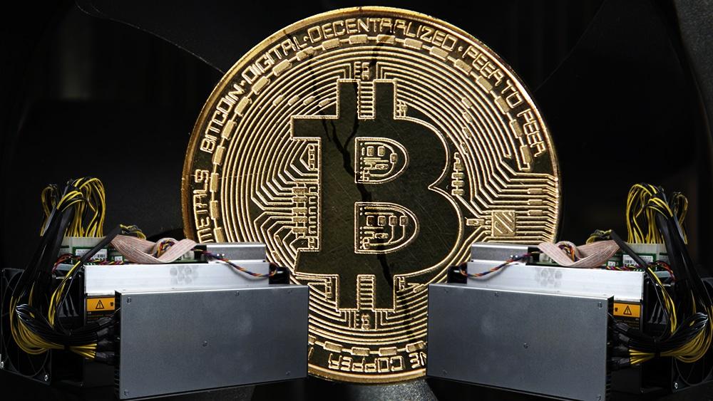 Dos mineros Bitmain en contra con una criptomoneda de bitcoin agrietándose.