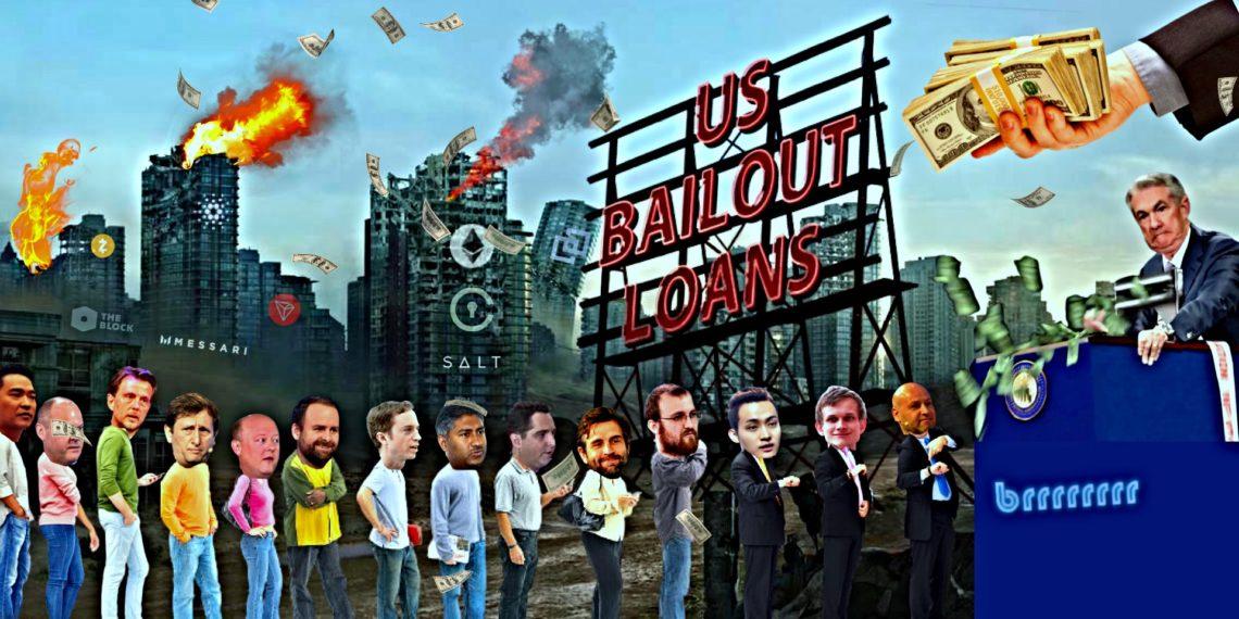 Vitalik Buterin, Joseph Lubin, Justin Sun, Zooko Wilcox, Erik Voorhees, entre otros, formando una fila para recibir sus préstamos del gobierno. Fuente: Bitcoin Meme Hub.