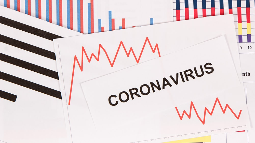 Gráficos decreciendo como riesgo de crisis financiera causada por el Coronavirus. Fuente: ratmaner / elements.envato.com