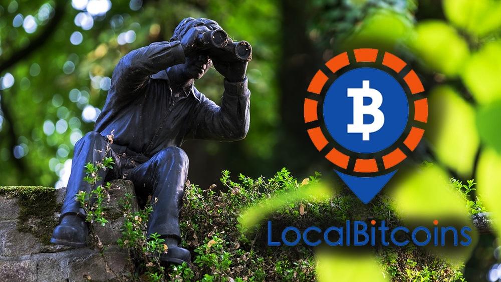 Figura humana observando con binoculares en un área verde, al lado el logo de LocalBitcoins. Composición por CriptoNoticias Oliver Kepka /  pixabay.com    LocalBitcoins / localbitcoins.com