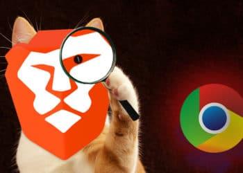 Logo de Brave sobre un felino con lupa viendo el logo de Chrome. Composición por CriptoNoticias  Brave / brave.com ;   DarkWorkX  /  pixabay.com ;  Lucas Wendt / pixabay.com ;