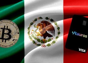 Tarjetas de Tauros con moneda de bitcoin frente a la bandera de México. Composición por CriptoNoticias. WorldSpectrum / Pixabay.com; Tauros.io / Tauros.iocom ; JoeBamz / Pixabay.com.