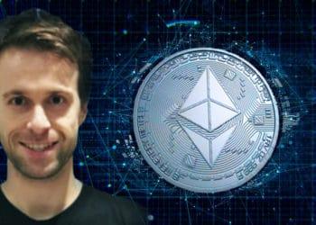 Justin Drake con un fondo de criptomoneda de Ethereum emergiendo.