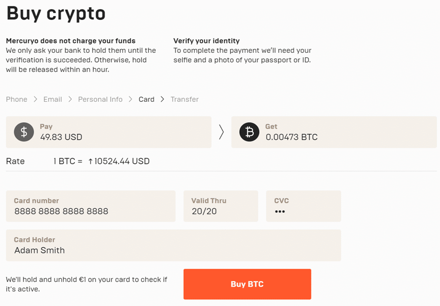 Pantalla para la compra de cripto con tarjeta bancaria