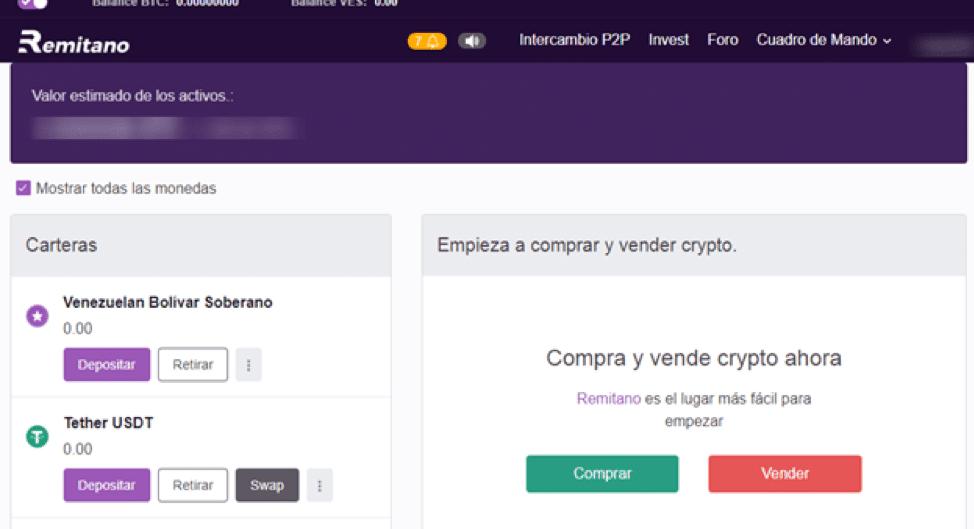Panel de control de compraventa de criptos en Remitano