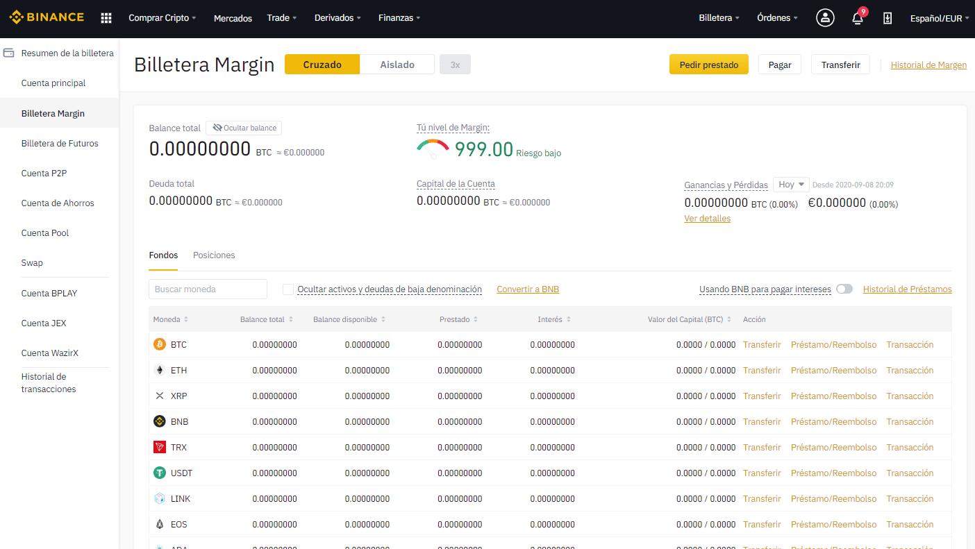 Margin cruzado cartera -trading con criptomonedas en Binance - CriptoNoticias
