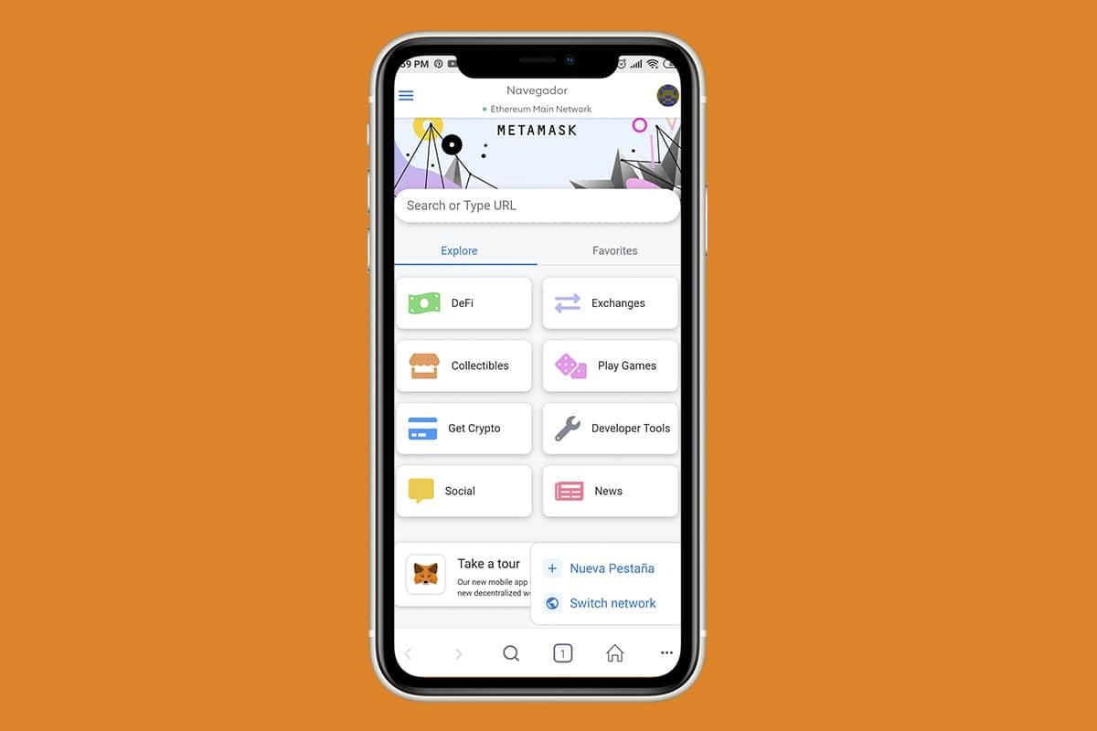 opción de la wallet Metamask como navegador predeterminado en el teléfono