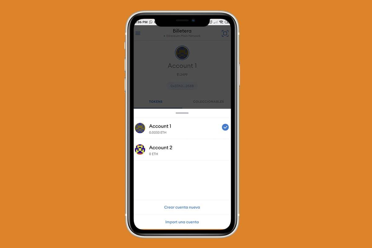 manejo de fondos y cuentas en la wallet MetaMask para teléfonos
