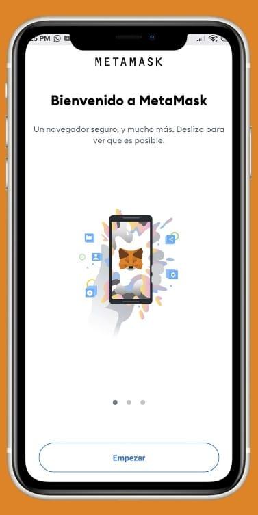 inicio de la App wallet MetaMask en tu teléfono