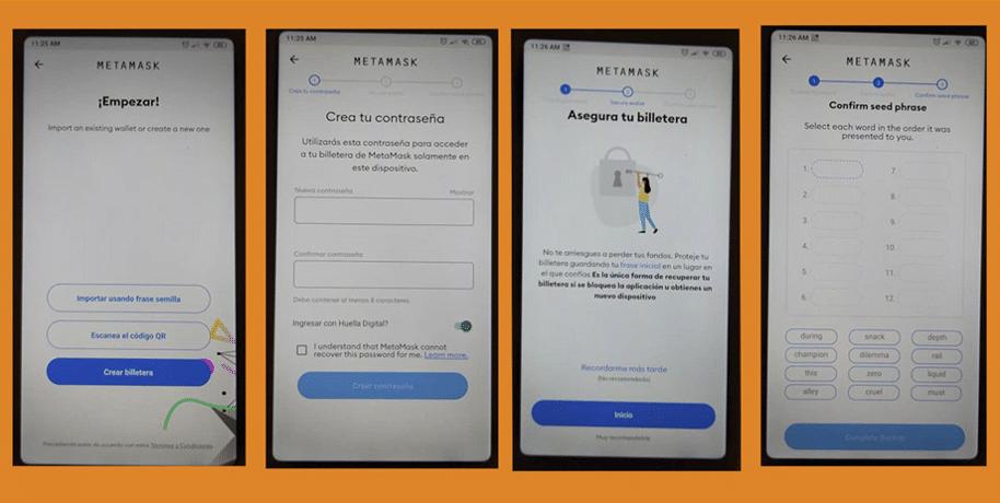 Pasos para empezar a usar la wallet de la App MetaMask en el teléfono