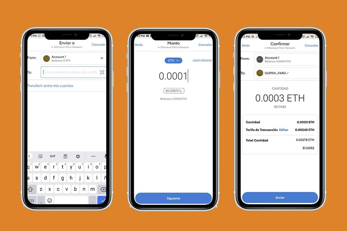 listado de contactos - transacción en wallet MetaMask (teléfono)