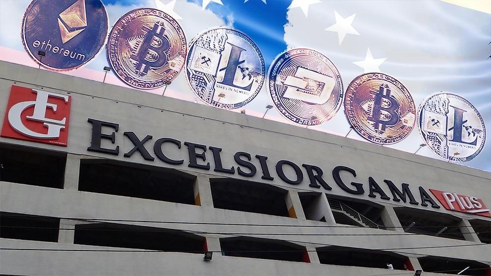 Edificio de Excelsior Gama con criptomonedas y bandera de Venezuela. Composición por CriptoNoticias. Slon.pics / Freepik.com; Contrapunto / contrapunto.com; stevanovicigor / elements.envato.com.