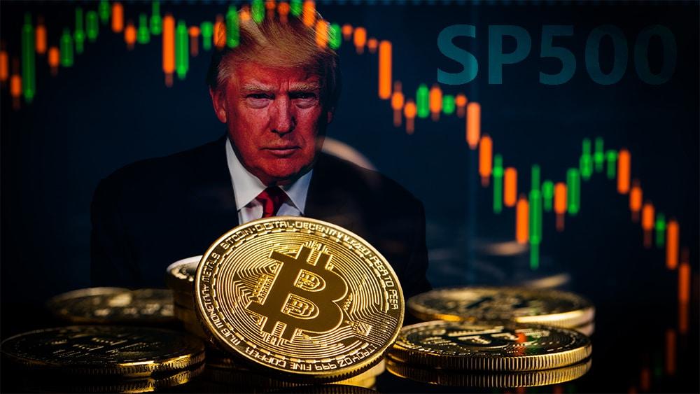 Monedas de Bitcoin con gráfico bajista e imagen de Donald Trump de fondo junto a SP500. Composición por CriptoNoticias. GPA Photo Archive / Flickr.com ; jirkaejc / elements.envato.com