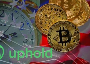 Comprar acciones estadounidenses con criptomonedas en Uphold. Composición por CriptoNoticias. Uphold / Uphold.com ; Free-Photos / Pixabay.com ; jirkaejc /  elements.envato.com ; kjekol /  elements.envato.com.