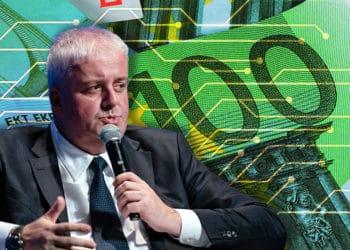 Burkhard Balz frente a imagen de billetes de euro con efecto digital. Composición por CriptoNoticias. PAyments Source / paymentssource.com ; @starline / Freepik.com ; mkos83 / elements.envato.com