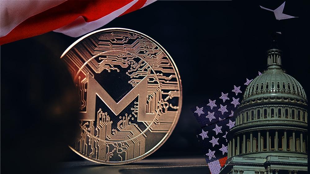 Edificio del senado y bandera de los Estados Unidos sobre moneda de Monero. Composición por CriptoNoticias. twenty20photos / elements.envato.com ; duallogic / elements.envato.com
