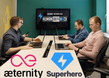 Equipo de tecnología en salón con logos de Aeternity, Superhero y Hackaton Defi Haeck. Composición por CriptoNoticias. Superhero / devpost.com; Aeternity / devpost.com.com; Human Defi Haeck / devpost.com; arthurhidden / elements.envato.com