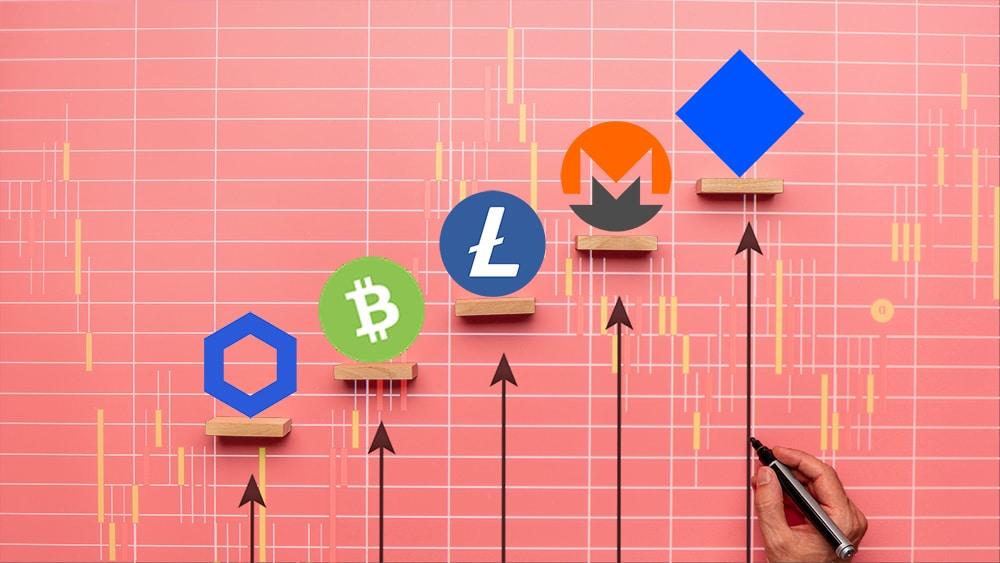 desempeño Waves Monero Litecoin Bitcoin Cash Chainlink mercado criptomonedas
