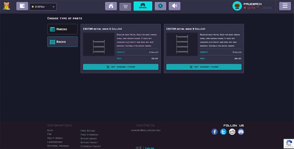 Racks para determinar la cantidad de mineros en RollerCoin