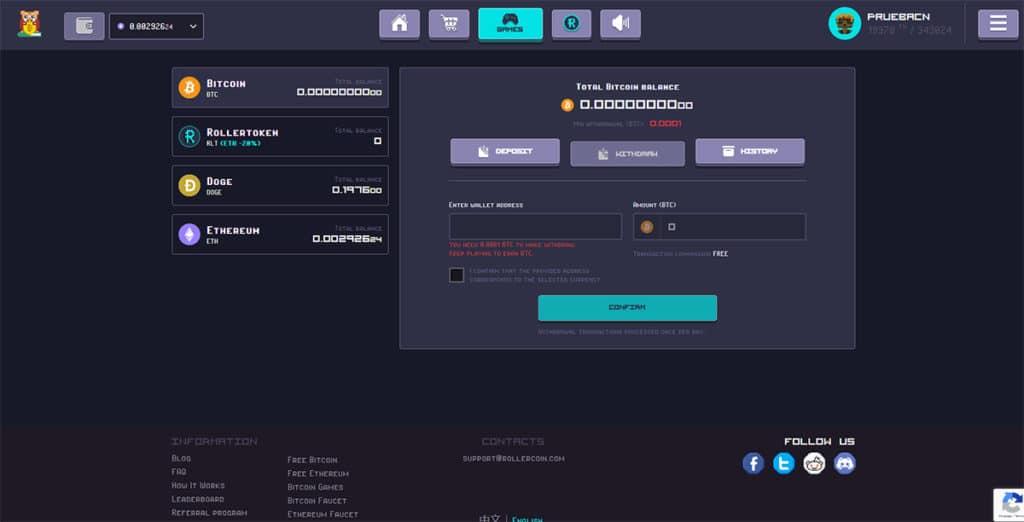 Cómo retirar criptomonedas de ROllerCoin