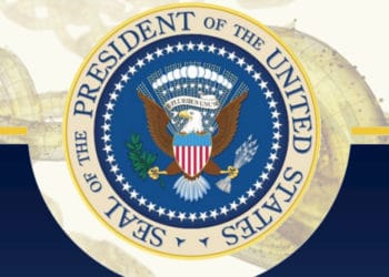 Cuadro con emblema de la oficina presidencial de los Estados Unidos con blockchain de fondo. Composición por CriptoNoticias. White House / whitehouse.gov ; iLexx / elements.envato.com.