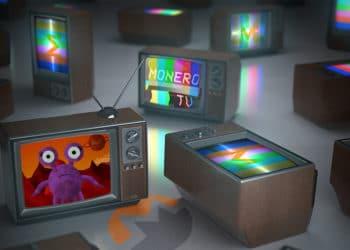 Varios televisores antiguos con imagenes de Monero TV. Composición por CriptoNoticias. maxxyustas / elements.envato.com ; Monero TV / Twitter.com ; MoneroTV / Twitter.com; Monero / getmonero.org