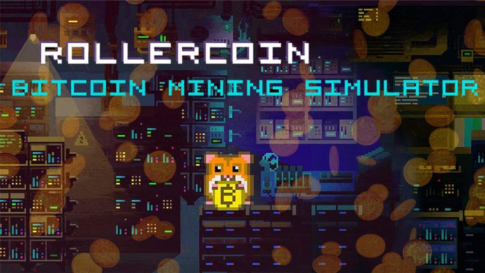 Sala de minería en RollerCoin con monedas cayendo en el fondo. Composición por CriptoNoticias. RollerCoin / Twitter.com ; RollerCoin / Facebook.com ; dibrova / elements.envato.com.