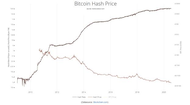 Gráfica del hashrate de bitcoin versus su precio