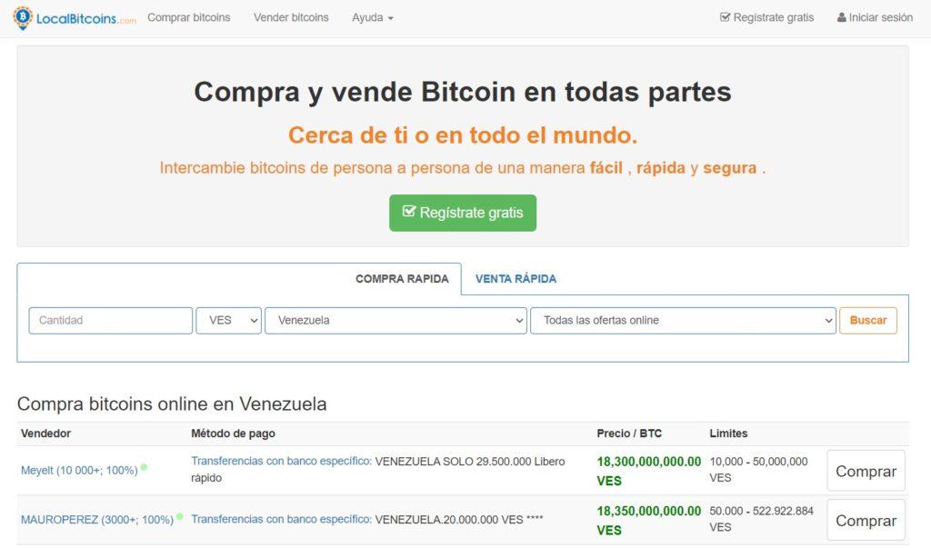 Intercambio BTC VES dinero fiat
