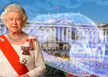 Reina Isabel II frente a Palacio de Buckingham con blockchain superpuesta. Composición por CriptoNoticias. Julian Calder / wikipedia.org; Diliff / wikipedia.org; iLexx / elements.envato.com