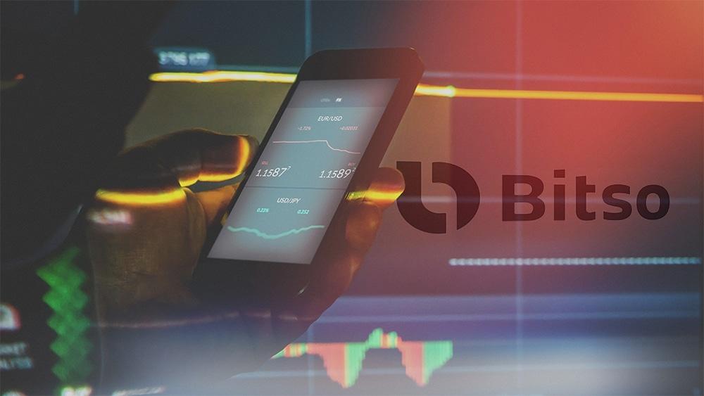 Trader con gráfico de mercado en el fondo con logo de Bitso superpuesto. Composición por CriptoNoticias. bitso / bitso.com; twenty20photos / elements.envato.com.