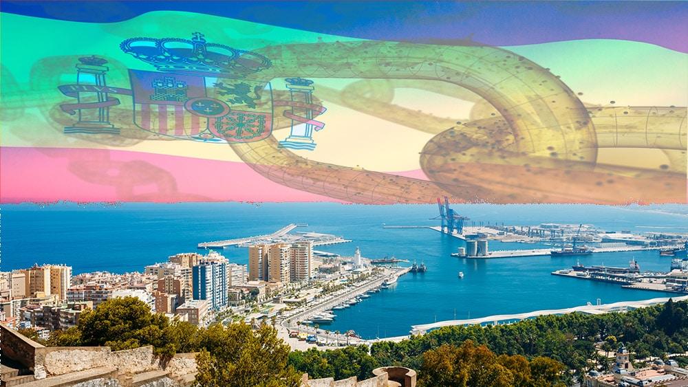 Puerto español con bandera de España y blockchain de fondo. Composición por CriptoNoticias. iLexx / elements.envato.com; twenty20photos / elements.envato.com; Grigory_bruev / elements.envato.com.