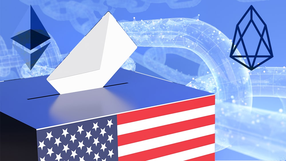 Votos en caja con bandera de Estados Unidos  y logos de Ethereum y EOS con blockchain en el fondo. Composición por CriptoNoticias. Ethereum / Wikimedia.org;Eos / btcnn.com; iLexx / elements.envato.com; rawf8 / elements.envato.com