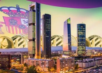 Edificios de Madrid con criptomonedas y bandera de España en el fondo. Composición por CriptoNoticias. twenty20photos / elements.envato.com; jirkaejc / elements.envato.com; SeanPavonePhoto / elements.envato.com.