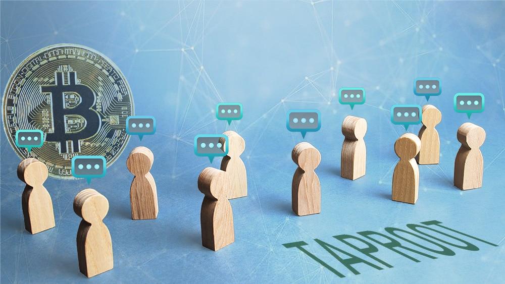Íconos de usuarios comentando sobre Taproot con moneda de Bitcoin en el fondo. Composición por CriptoNoticias. johan10 / elements.envato.com; TheDigitalArtist / Pixabay.com; twenty20photos / elements.envato.com