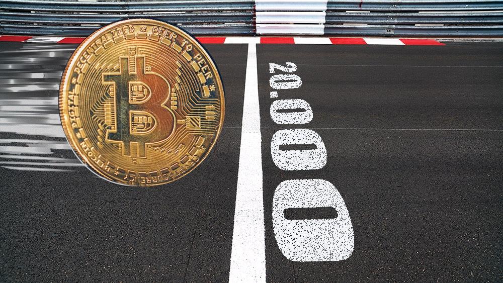 Moneda de Bitcoin avanza a gran velocidad hacia la línea de los 20.000. Composición por CriptoNoticias. duallogic / elements.envato.com; @pikisuperstar / Freepik.com; StevanZZ / elements.envato.com.