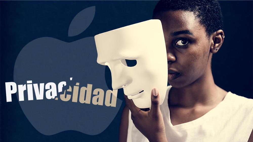 """Mujer sosteniendo mascara frente a su cara con logo de Apple y palabra """"privacidad"""" quebrada en el fondo. Composición por CriptoNoticias. Rob Janoff  / wikipedia.org; Rawpixel / elements.envato.com"""