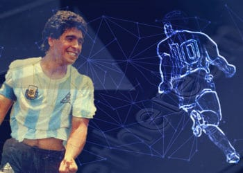 Homenaje en token de ethereum al exfutbolista Diego Maradona. Composición por CriptoNoticias. C7215B / opensea.io; Freepik / Freepik.com; macondoso / elements.envato.com.