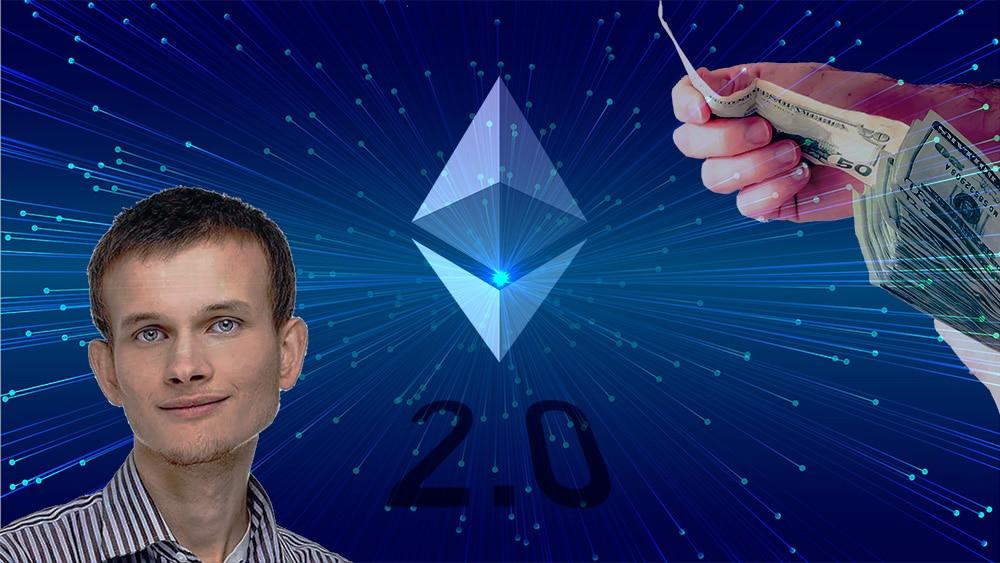 Vitalik Buterin junto a logo de Ethereum con mano entregando dinero en el fondo. Composición por CriptoNoticias. twenty20photos / elements.envato.com; bit2me / bit2me.com; Ethereum Foundation / wikimedia.org; Starline / Freepik.com.