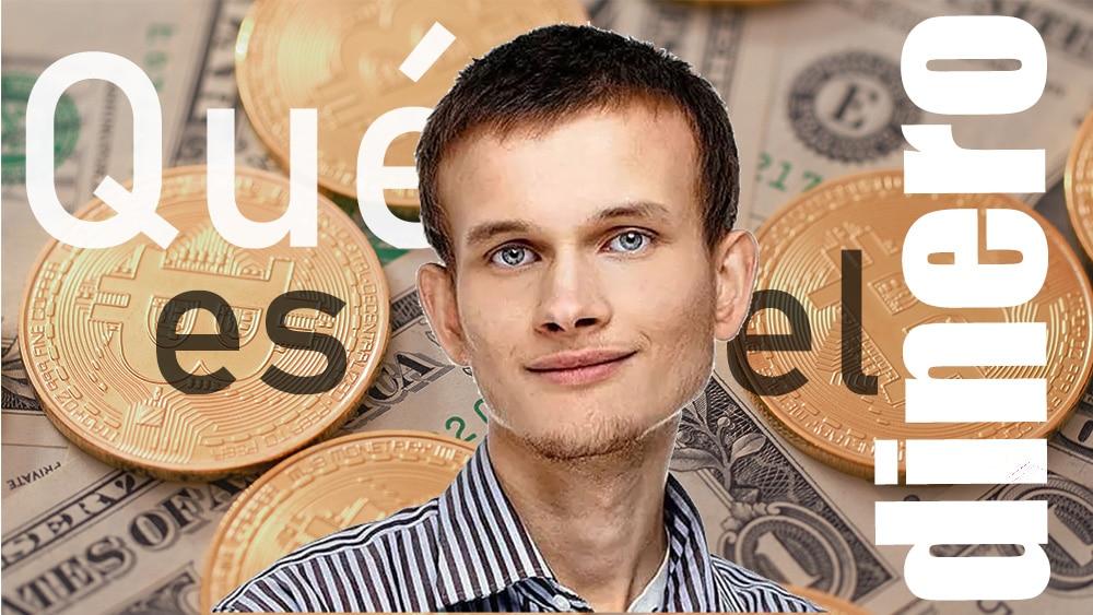 Vitalik Buterin frente a monedas de bitcoin sobre billetes de dólar. Composición por CriptoNoticias. bit2me / bit2me.com; leungchopan / elements.envato.com.