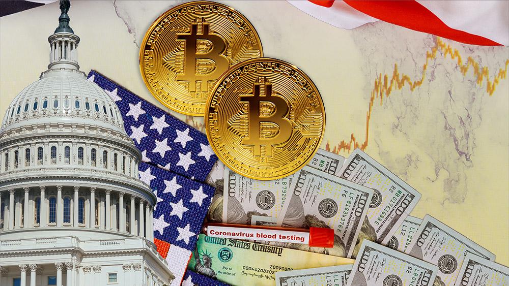 Monedas de Bitcoin sobre mesa con dólares bandera y congreso de Estados Unidos con gráfico de mercado superpuesto. Composición por CriptoNoticias. ESchweitzer / elements.envato.com; jcomp / freepik.com; twenty20photos / elements.envato.com.