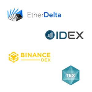 Logos de exchanges descentralizados Binance y Tex