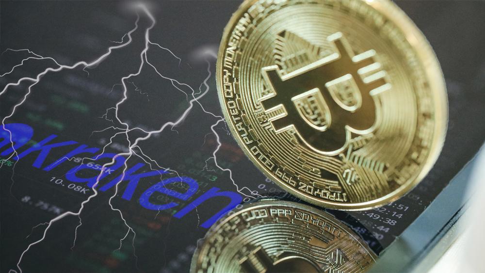 Moneda de Bitcoin sobre pantalla con datos de exchange, relámpagos y logo de Kraken. Composición por CriptoNoticias. Kraken / kraken.com; vectorpocket / freepik.com; Doughnutew  / pxhere.com