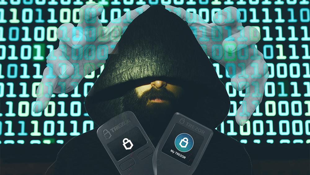 Monederos Trezor con hacker y código y manos en el fondo. Composición por CriptoNoticias. Trezor / trezor.io; truthseeker08 / pixabay.com; Trezor / Trezor.io; twenty20photos / elements.envato.com