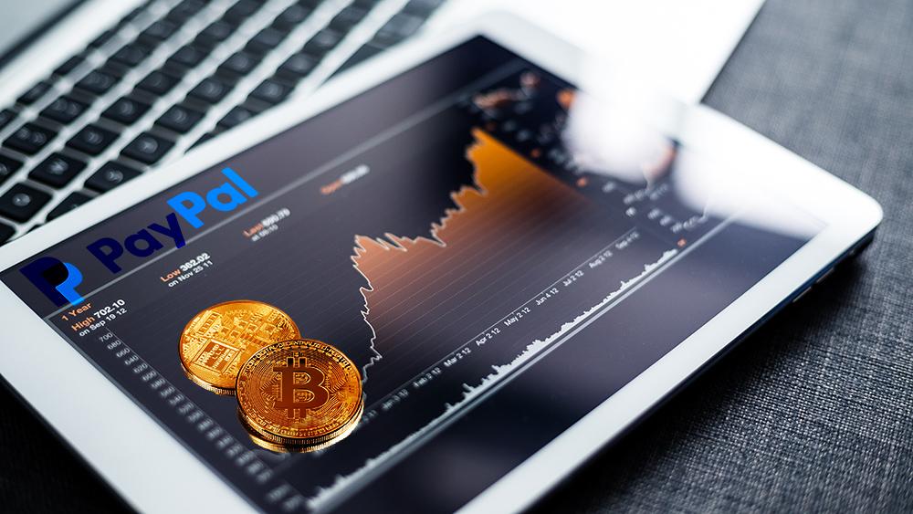 Monedas de Bitcoin sobre tablet con gráfico de mercado y logo de Paypal. Composición por CriptoNoticias. Photology75 / elements.envato.com; PayPal / wikipedia.org; leungchopan / elements.envato.com.