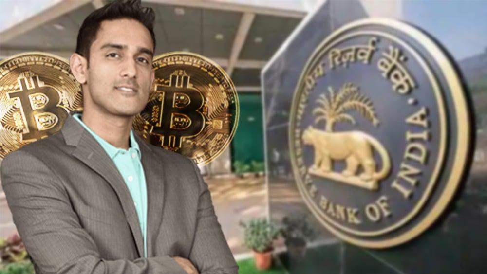 Sunny Ray con monedas de Bitcoin y oficinas del Banco Central de la India en el fondo. Composición por CriptoNoticias. Block Tribune / blocktribune.com; Aniruddha Chowdhury / livemint.com; johan10 / elements.envato.com